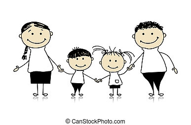 juntos, dibujo, familia feliz, sonriente, bosquejo