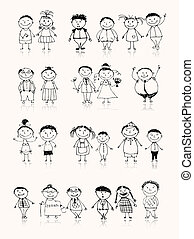 juntos, dibujo, familia feliz, sonriente, bosquejo, grande