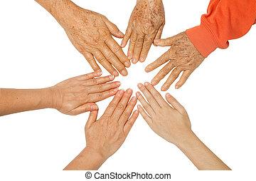 juntos, manos, tenencia, entre, bono, familia , concepto