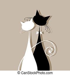 juntos, pareja, su, diseño, gatos, silueta