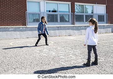 juntos, schoolyard, rayuela, juego, amigos