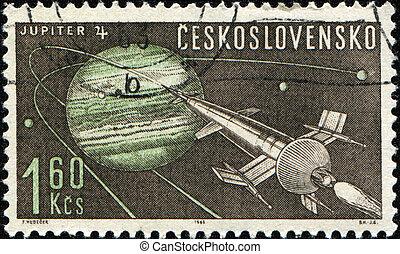 Jupiter 4 - CZECHOSLOVAKIA - CIRCA 1963: A stamp printed in...