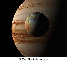 Jupiter and Io. Computer generated illustration.