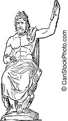 Jupiter at Vatican museum, vintage engraving. - Jupiter at...