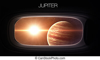 Jupiter - Beauty of solar system planet in spaceship window...