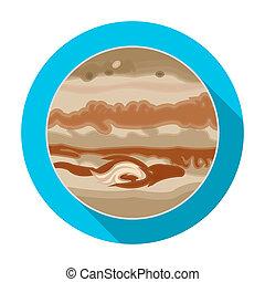 Jupiter icon in flat style isolated on white background. Planets symbol stock bitmap, rastr illustration.