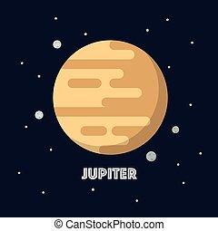 Jupiter on space background