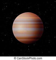 Jupiter Planet - Planet Jupiter with typical great spot -...