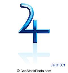 Jupiter sign. - Shiny blue Jupiter sign on white background....