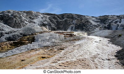 Mammoth Hot Springs - Jupiter Terrace and blue sky at...