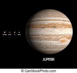 Jupiter with Moons - A rendered size comparison of the...