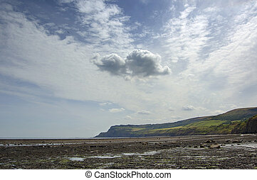 jurassic cliffs and sky at Robin Hoods Bay