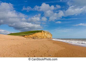 Jurassic Cliffs at West Bay Dorset in UK - Wide beach...