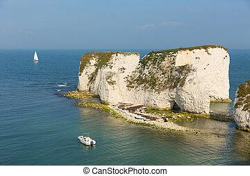 Jurassic Coast Dorset England UK Old Harry Rocks chalk...