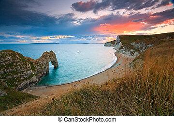 Jurassic coast in Dorset, UK. - Durdle Door on Jurassic...