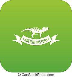 Jurassic dino icon green vector