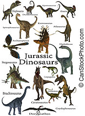 This is a collection of various dinosaurs including carnivores, herbivores and flying reptiles that lived in the Jurassic Period.