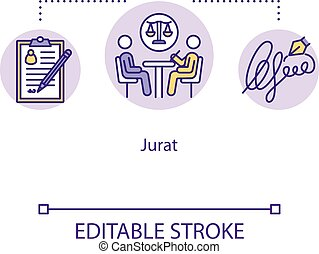 Jurat concept icon. Advocate assistance. Contract confirmation. Affidavit and official document. Common law idea thin line illustration. Vector isolated outline RGB color drawing. Editable stroke