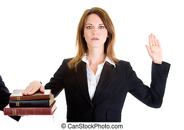 jurer, femme, bibles, caucasien, fond, blanc, pile