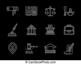 Juridical and legal flat line vector icons set