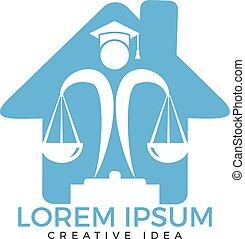 Juridical legal center emblem.