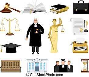 Jurisdiction and law cartoon elements - Justice elements....