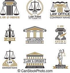 jurisprudence., código, legal., notas, etiquetas, legal, vector, negro, cuadros, ilustraciones, ley, martillo, juez, insignias