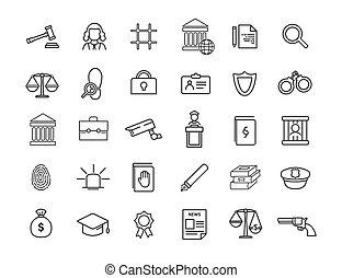 jurisprudence, droit & loi, vecteur, ensemble, icônes, ...