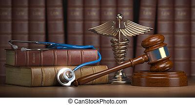 jurisprudence., medisch, wettelijk, meldingsbord, achtergrond., boekjes , stethoscope, caduceus, gavel, mediicine, wetten