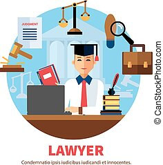 jurist, 専門家, 法的, 弁護士, イラスト