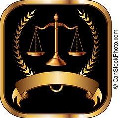 jurist, lag, eller, guld försegla