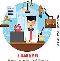 jurista, experto, legal, abogado, ilustración
