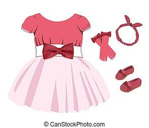 jurkje, girls., background.., illustratie, colors., costume...