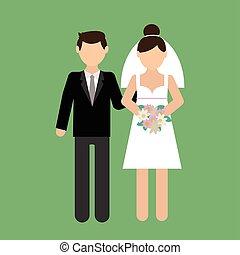 jurkje, paar, vector, illustratie, trouwfeest