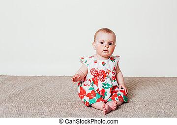 jurkje, rood, baby meisje, bloemen
