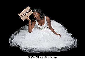 jurkje, werkloos, vrouw, black , trouwfeest