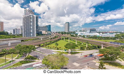 Jurong East Interchange metro station aerial timelapse, one...
