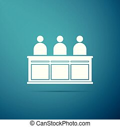 Jurors icon isolated on blue background. Flat design. Vector Illustration