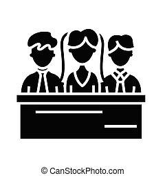 Jury black icon, concept illustration, vector flat symbol, glyph sign.
