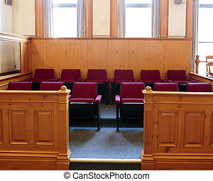 Jury Box - Seats of the jury box in a courtroom