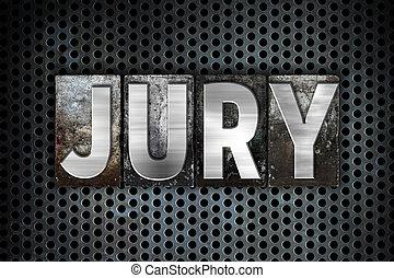 jury, concept, métal, letterpress, type