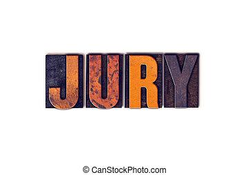 jury, concept, type, isolé, letterpress