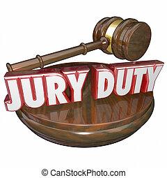 jury, gavel, versieren, proef, plicht, rechter