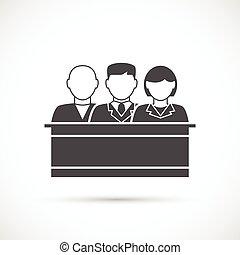 Jury icon. Assize - Jury icon. Jury sitting in the court