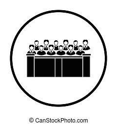 Jury icon. Thin circle design. Vector illustration.