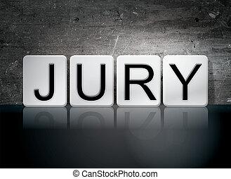 jury, lettres, thème, carrelé, concept