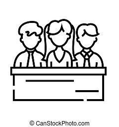 Jury line icon, concept illustration, outline symbol, vector sign, linear symbol.