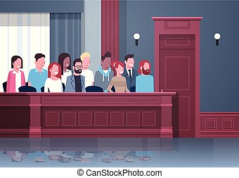 jury sitting in box court trial session mix race people in judging process modern courtroom interior portrait horizontal vector illustration