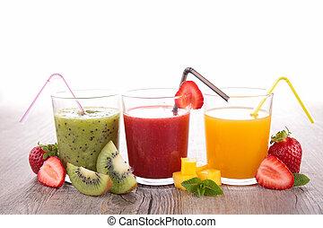 jus, assortiment, fruit