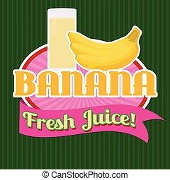jus banane, autocollant, ou, étiquette